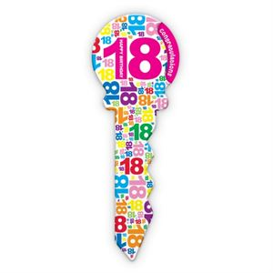 '18' BIRTHDAY PARTY SIGNATURE KEY PINK/WHITE