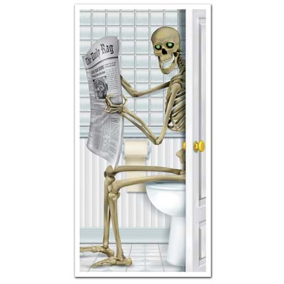 DOOR COVER - SKELETON ON THE TOILET