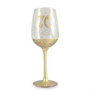 '70' BIRTHDAY CLEAR WINE GLASS WITH GOLD STEM