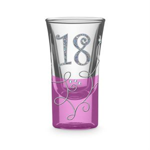 '18' BIRTHDAY PINK DIAMONTE VINE SHOT GLASS
