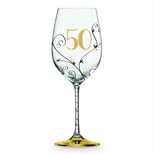 50TH BIRTHDAY BLACK & GOLD VINE WINE GLASS