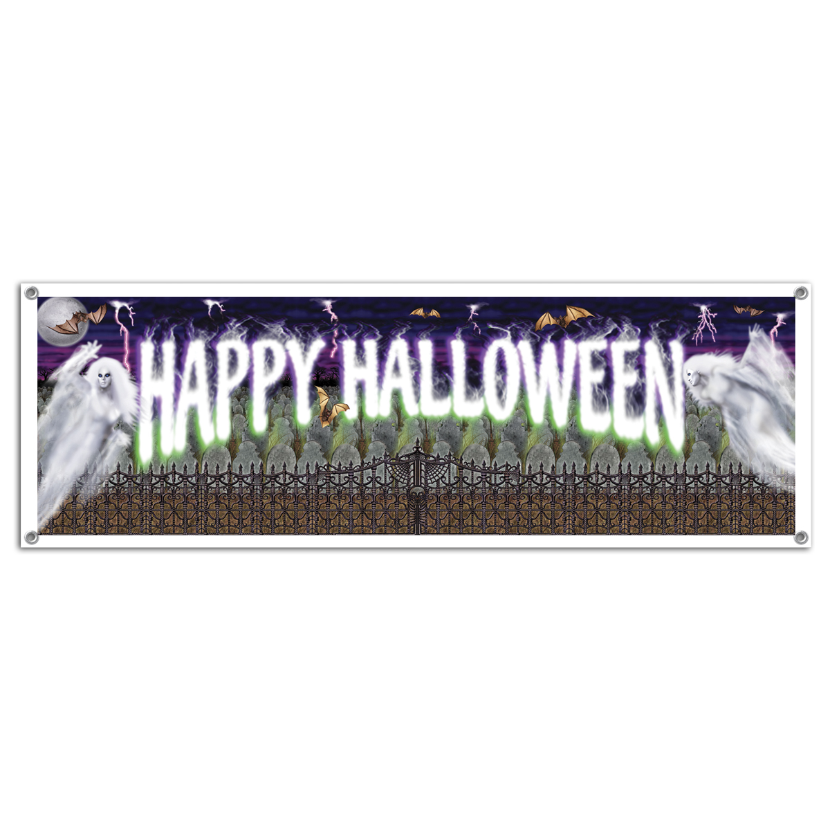 LARGE BANNER - HALLOWEEN MYSTERIOUS GHOSTS