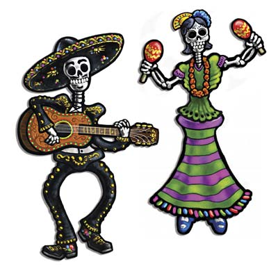 DAY OF THE DEAD JOINTED DANCING SKELETONS - PACK OF 2