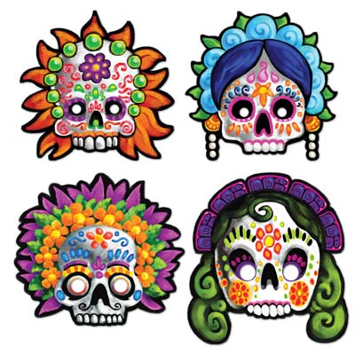 DAY OF THE DEAD SUGAR SKULL MASKS - SET OF 4