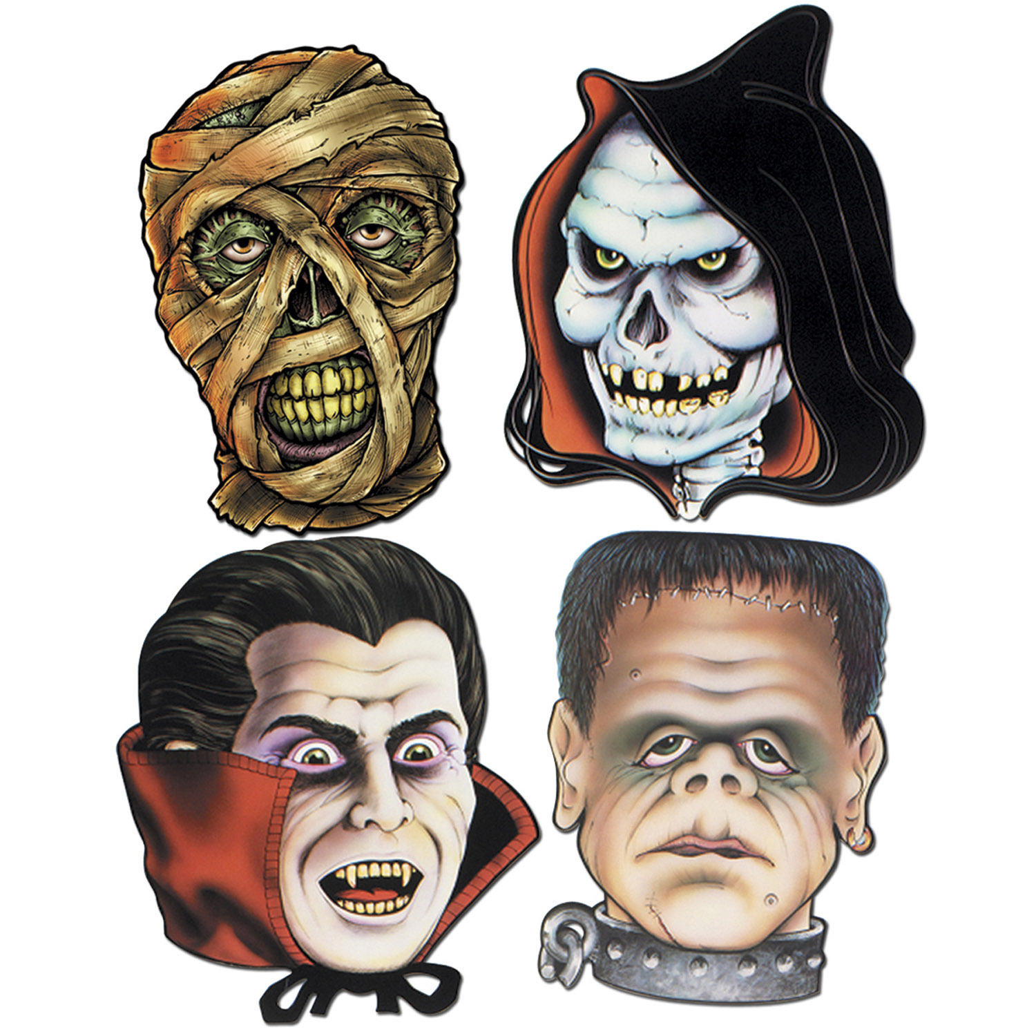 MONSTER FACE CUT OUTS - PACK OF 4