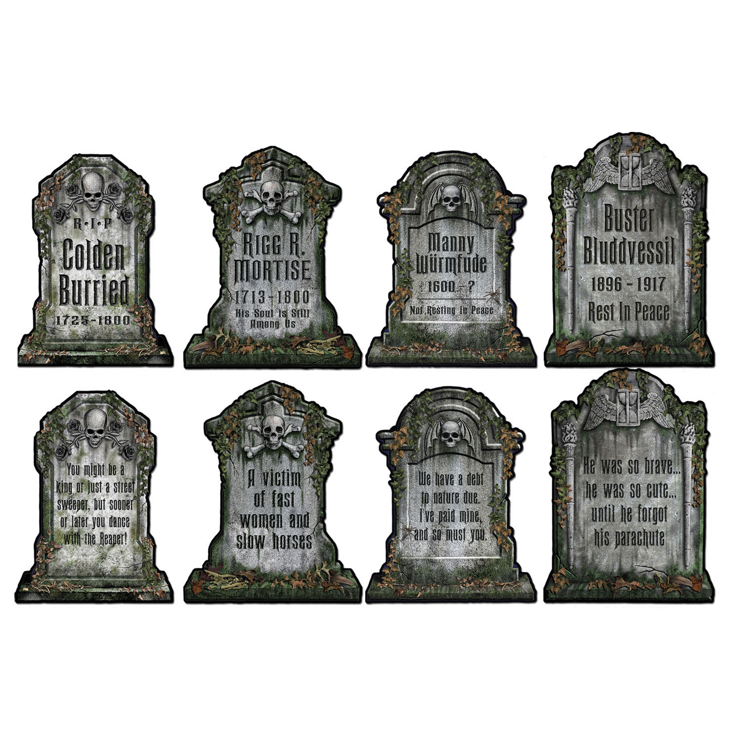 HALLOWEEN TOMBSTONES CUT OUTS - PACK OF 4