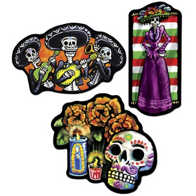 DAY OF THE DEAD MEXICAN CUT OUTS - PACK OF 3