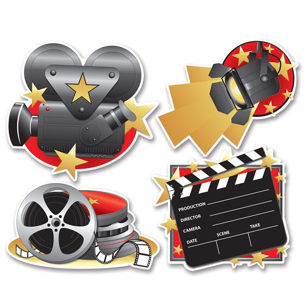 MOVIE SET CUT OUTS IN COLOUR - PACK OF 4