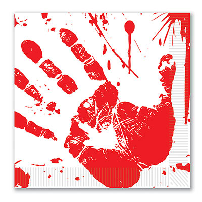 BLOOD HAND PRINT LUNCH NAPKINS - PACK OF 16