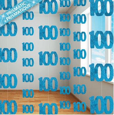 GLITZ BLUE GLITTERED 100TH BIRTHDAY STRING DECORATIONS
