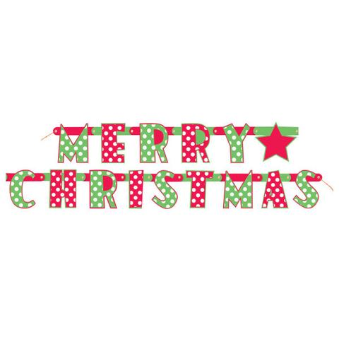 MERRY CHRISTMAS POLKA DOTS JOINTED BANNER