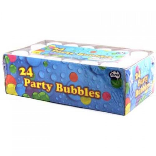 PARTY LOOT BAG BUBBLES - SEE THROUGH BOTTLE - COLOURED WAND