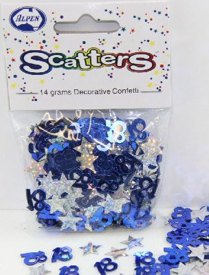 18TH BIRTHDAY TABLE SCATTERS - BLUE & SILVER