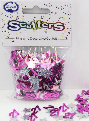 21ST BIRTHDAY TABLE SCATTERS - GLITZ PINK AND SILVER