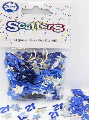21ST BIRTHDAY TABLE SCATTERS - GLITZ BLUE & SILVER