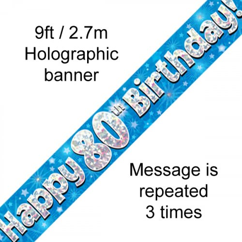 80TH BIRTHDAY BANNER - BLUE HOLOGRAPHIC 2.7M