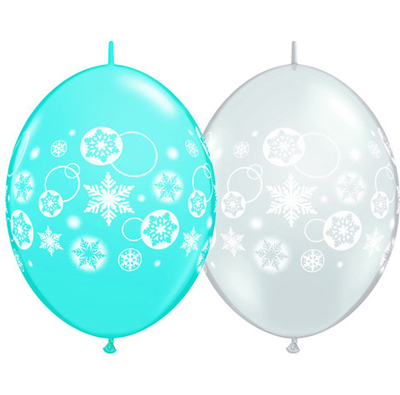 BALLOONS LATEX - QUICK LINK ROBINS EGG & DIAMOND CLEAR SNOWFLAKE