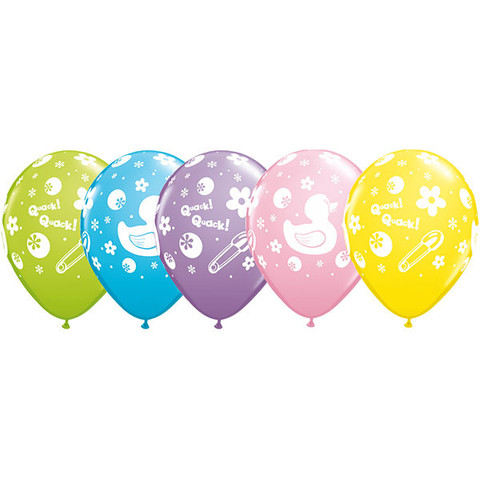 BALLOONS LATEX - BABY SHOWER RUBBER DUCKIE - PACK 6