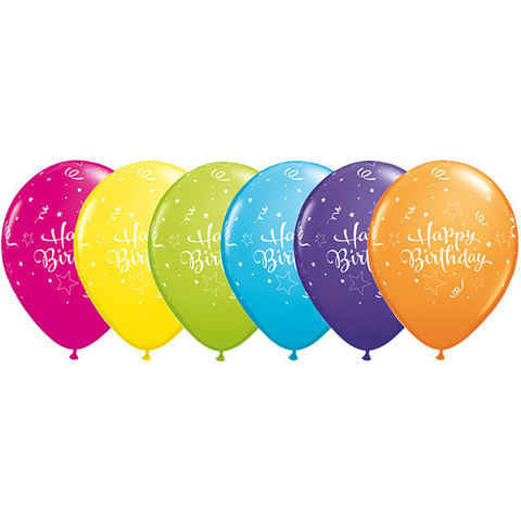 BALLOONS LATEX - HAPPY BIRTHDAY SHINING STAR PACK OF 12