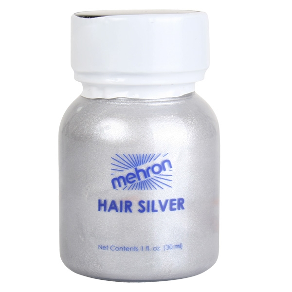 MEHRON HAIR SILVER & BRUSH SANTA/WIZARD - 30ML