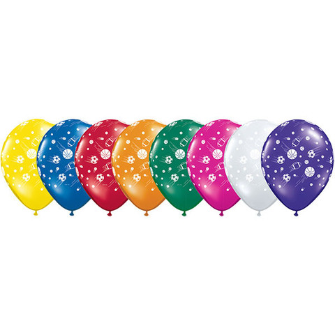BALLOONS LATEX - SPORTS BALLS PACK OF 6