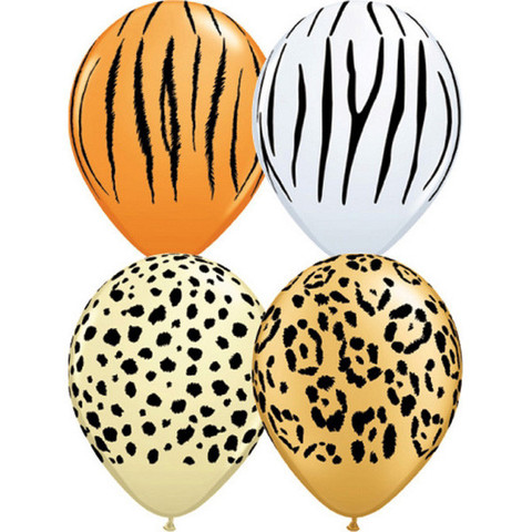 BALLOONS LATEX - JUNGLE ANIMAL STRIPES & SPOTS PACK OF 50