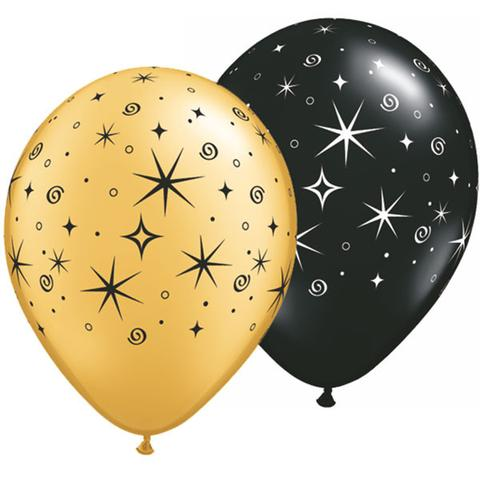 BALLOONS LATEX - STARS SPARKLES & SWIRLS GOLD & BLACK PACK OF 6