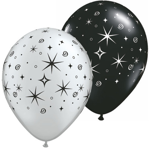 BALLOONS LATEX - STARS SPARKLES & SWIRLS SILVER & BLACK PACK 6