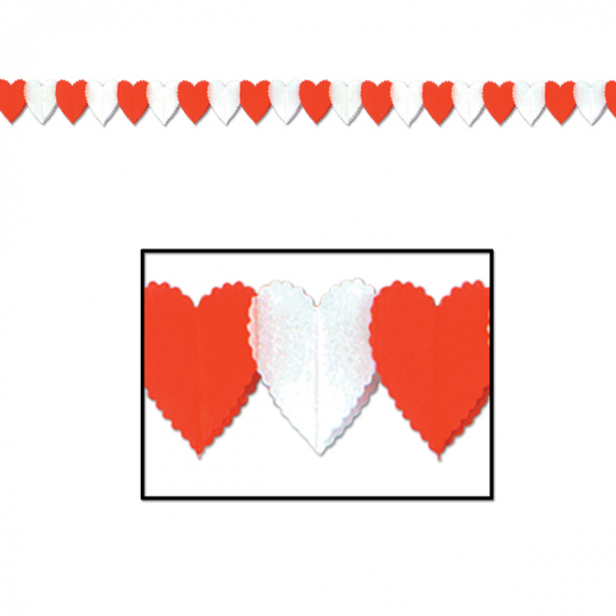 HEART GARLAND MINI RED & WHITE HEARTS - 3.9M LONG