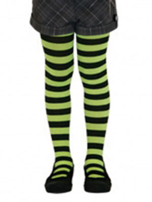 CHILD'S PANTYHOSE - LIME WITH BLACK STRIPES