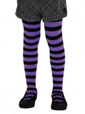 CHILD\'S PANTYHOSE - PURPLE WITH BLACK STRIPES