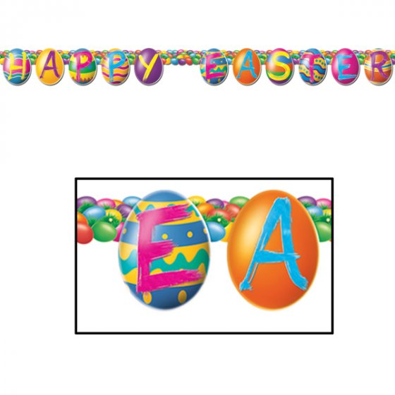 HAPPY EASTER BRIGHT PAINTED EGGS STREAMER BANNER