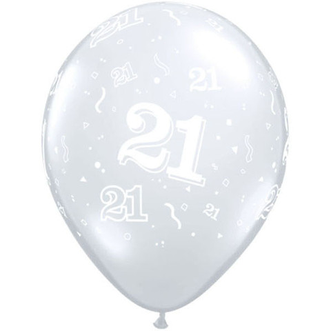 BALLOONS LATEX - 21ST BIRTHDAY DIAMOND CLEAR PACK OF 6