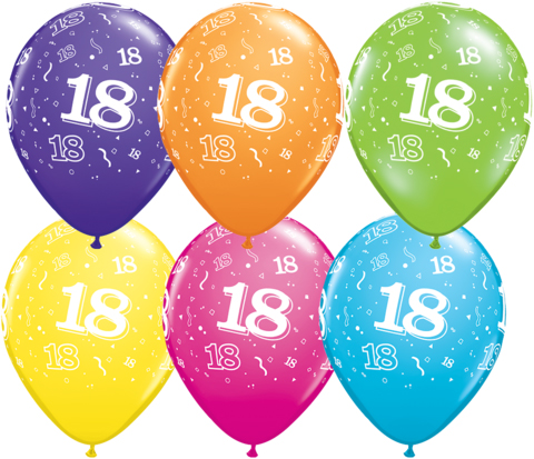 BALLOONS LATEX - 18TH BIRTHDAY TROPICAL ASSORTED PACK 25