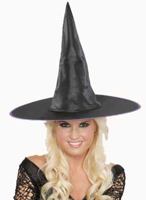 ADULT WITCH HAT WITH COLOURED TRIM