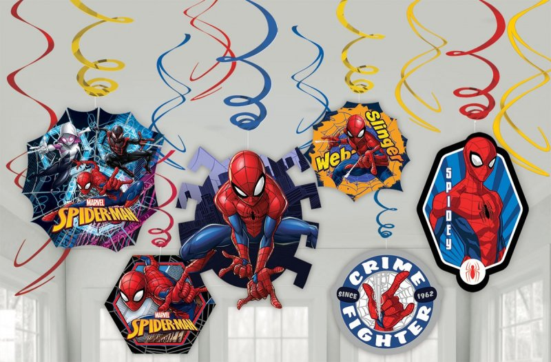 SPIDERMAN SWIRL DECORATIONS - VALUE PACK OF 12
