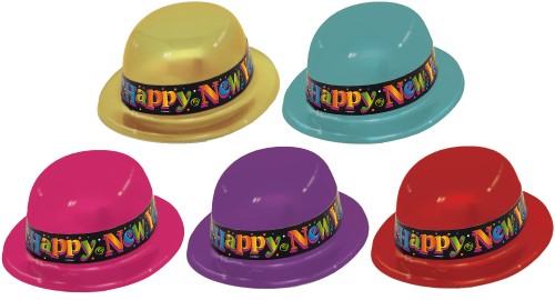 HAT - NYE DERBY DAY BOWLER HAT MULTI COLOURED - PACK OF 50