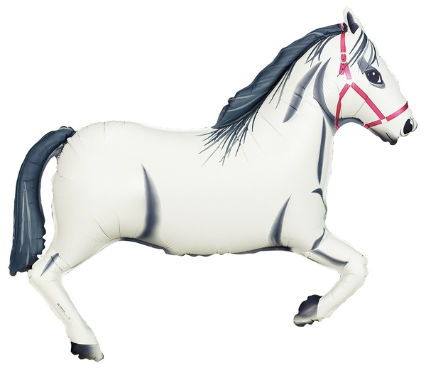 FOIL SUPER SHAPE BALLOON - HORSE WHITE
