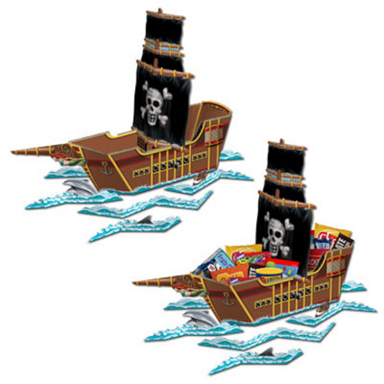 PARTY FAVOUR BOX - PIRATE TREASURE SHIP LARGE TABLE CENTREPIECE