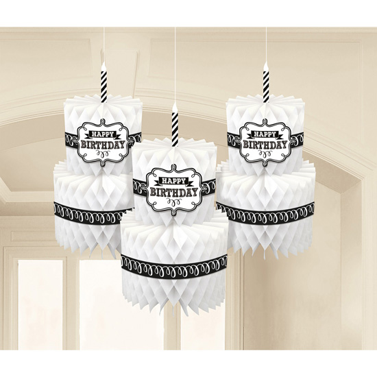 BIRTHDAY HONEYCOMB CAKE DECORATIONS - PACK OF 3
