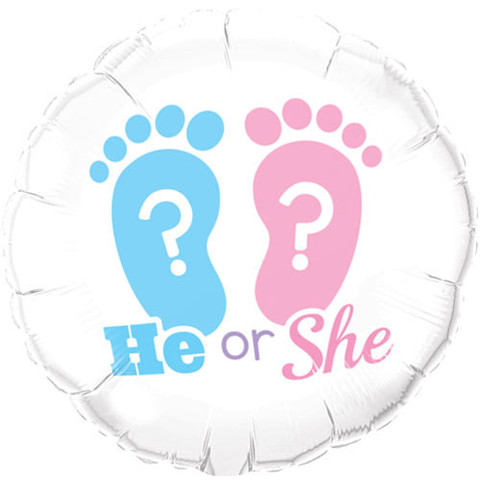 FOIL BALLOON - 'HE OR SHE' FOOTPRINTS BABY REVEAL