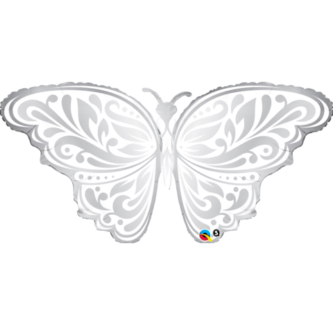 FOIL SUPER SHAPE BALLOON - SILVER BUTTERFLY