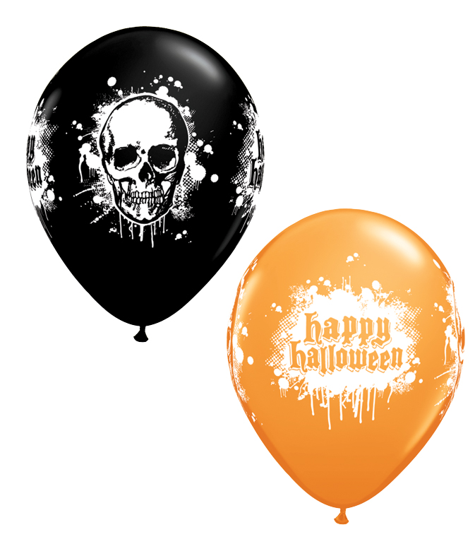 BALLOONS LATEX - HAUNTED SKULL ORANGE & BLACK - PACK 25