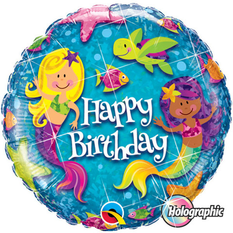 FOIL BALLOON - HOLOGRAPHIC 'HAPPY BIRTHDAY' MERMAID