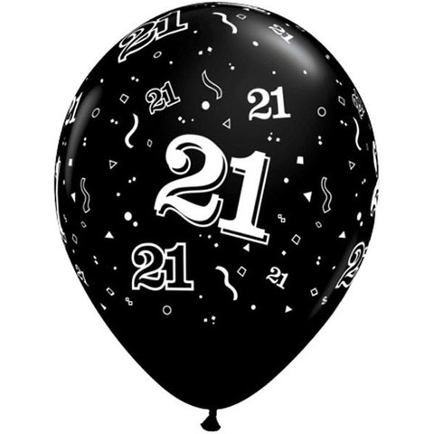 BALLOONS LATEX - 21ST BIRTHDAY ONYX BLACK PACK 6