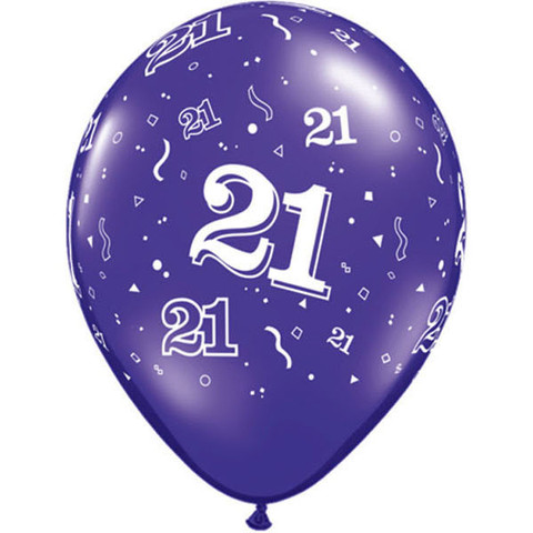 BALLOONS LATEX - 21ST BIRTHDAY PURPLE PACK OF 6