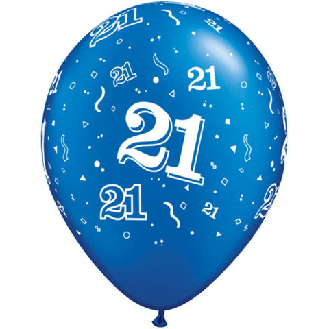 BALLOONS LATEX - 21ST BIRTHDAY SAPPHIRE BLUE PACK OF 6