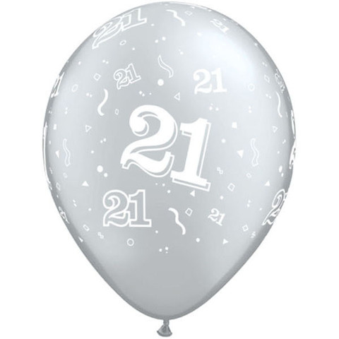 BALLOONS LATEX - 21ST BIRTHDAY SILVER PACK OF 6