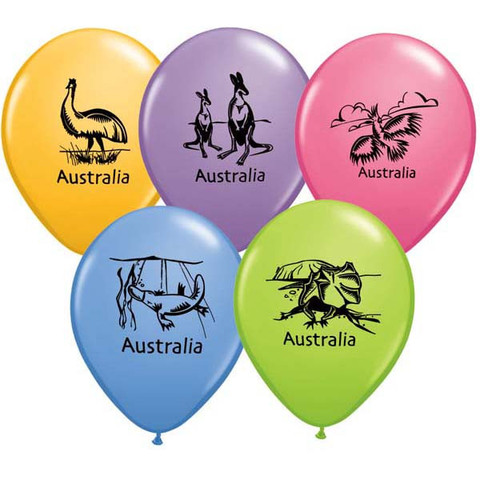 BALLOONS LATEX - AUSSIE ANIMALS PACK OF 6