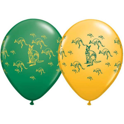 BALLOONS LATEX - AUSSIE KANGAROO PRINT PACK OF 6